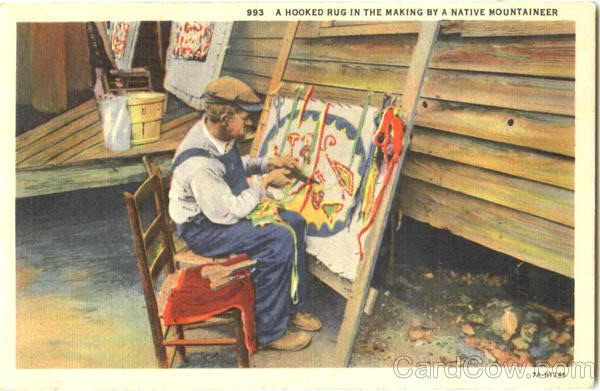 I Found This Vintage Rughooking Postcard For Sale On A Collectibles  Website. The Small Print Across The Top Right Reads: U201cA Hooked Rug In The  Making By A ...