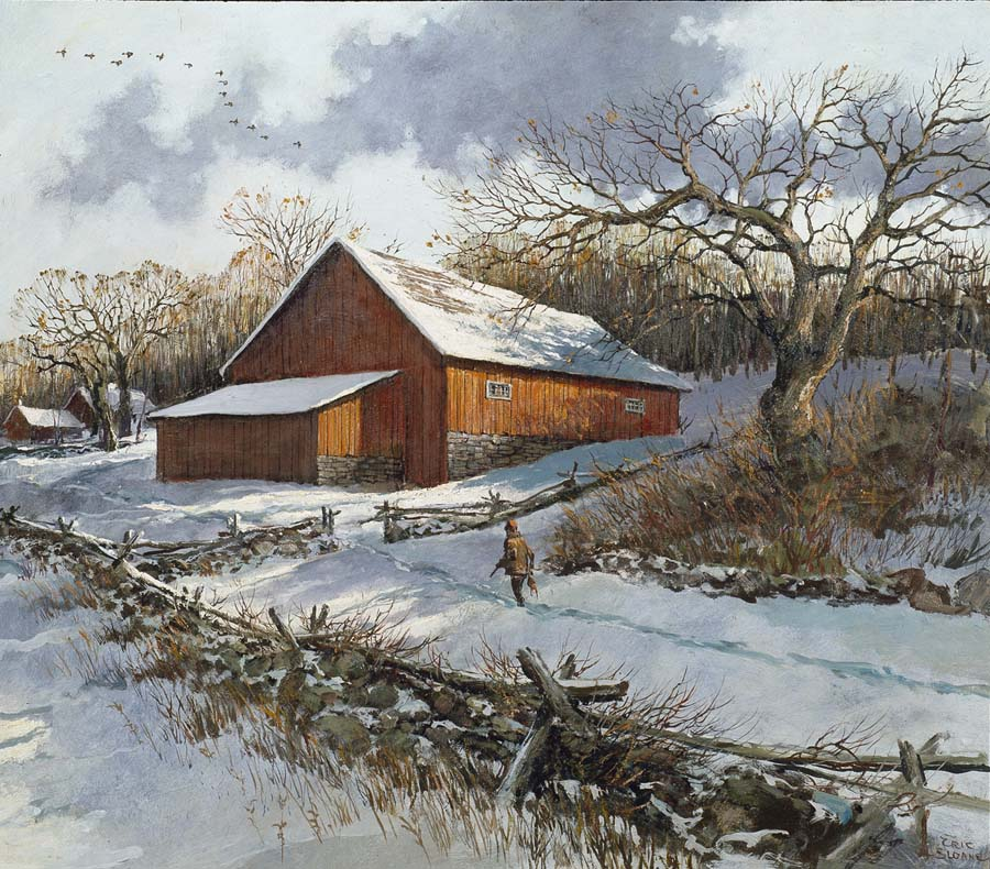 image eric sloane red barn and snow